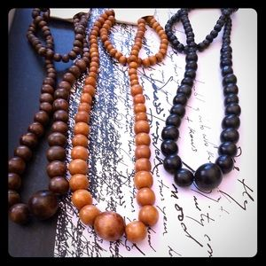 3 wooden earthy beaded necklaces